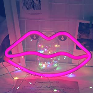 Fiee Pink Lip Shaped Neon Signs,Led Safety Art Wall Decoration Lights Neon Lights Night Table Lamp with Battery Powered/USB for Kids Gift,Baby Room,Wedding(Pink Lip)