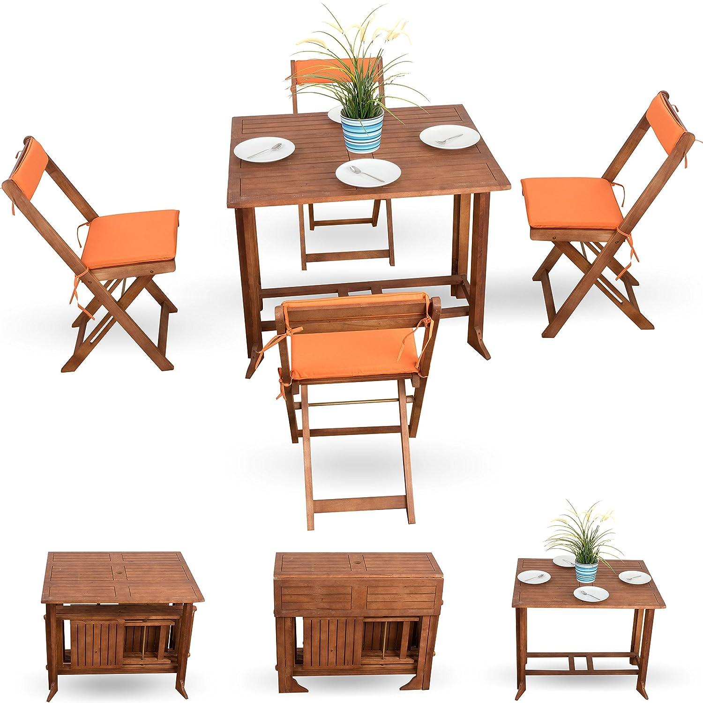 Garten und Terrassenmöbel inkl. Balkon Stuhlauflagen in orange 9tlg ...