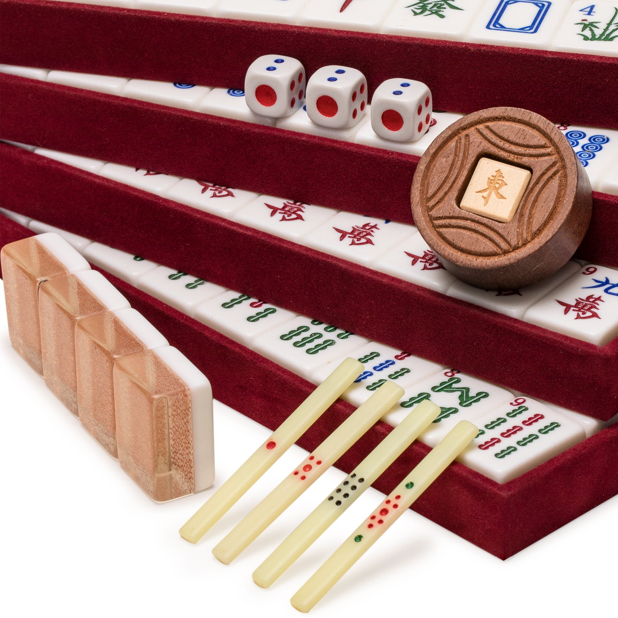 Yellow Mountain Imports Chinese Mahjong Set, Champagne Gold - with Wood Veneer Case - Medium Size Tiles: 1.3 x 1 x 0.7 inches (34mm x 25mm x 19mm) - for Chinese Style Gameplay Only by Yellow Mountain Imports (Image #3)