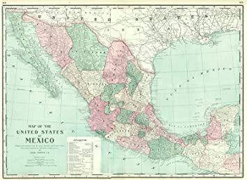 Amazon.com: Historic Map | 1895 Map of the United States of Mexico ...