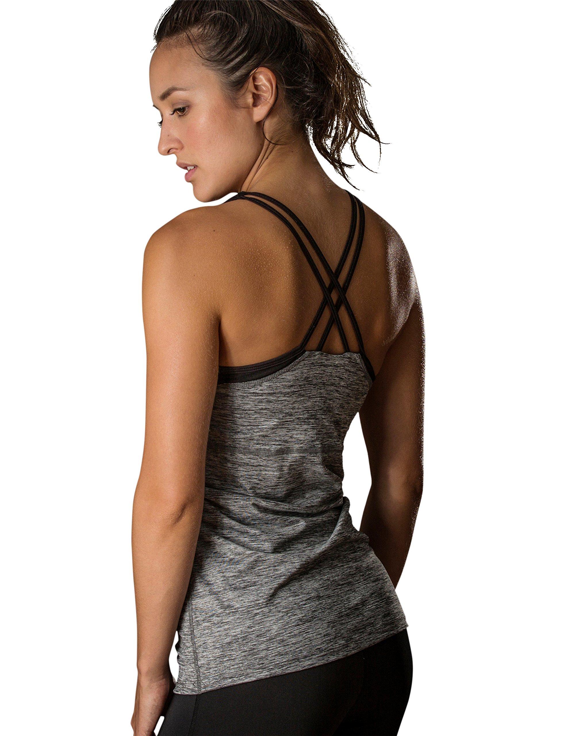 icyzone Women Workout Yoga Spaghetti Strap Racerback Tank Top with Built in Bra (L, Grey Melange)
