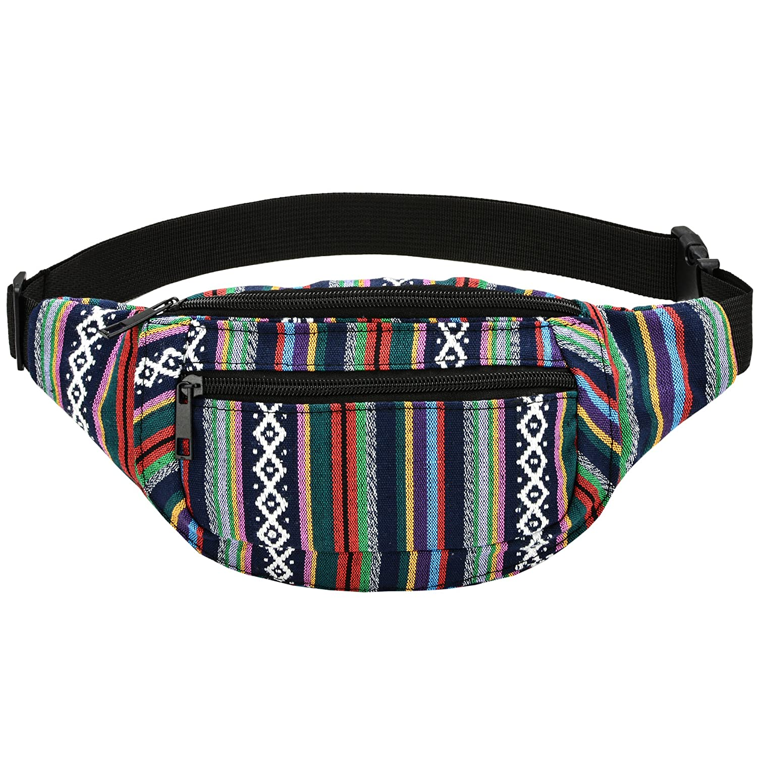 Kayhoma Boho Fanny Pack Stripe Festival Rave Retro Vintage Flat Bum Bags Travel Hiking Waist Belt Purse yb009