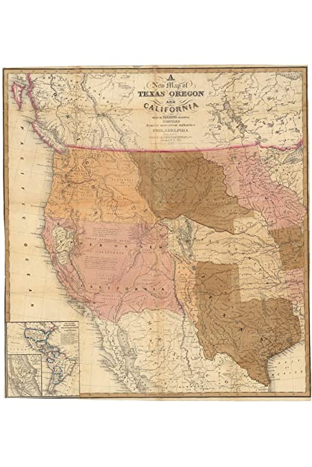 Amazon Com History Prints Antique Map Of Texas Oregon California
