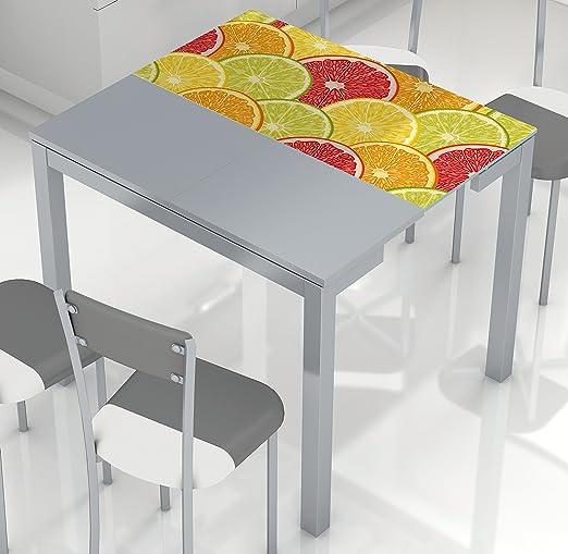 Mesa de cocina extensible con tablero de cristal templado y ...