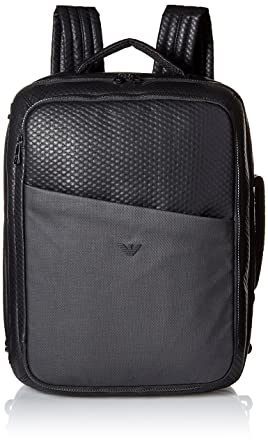 Armani Jeans Men s Embossed Pu and Canvas Big Backpack with Eagle Logo aaab6b037a5
