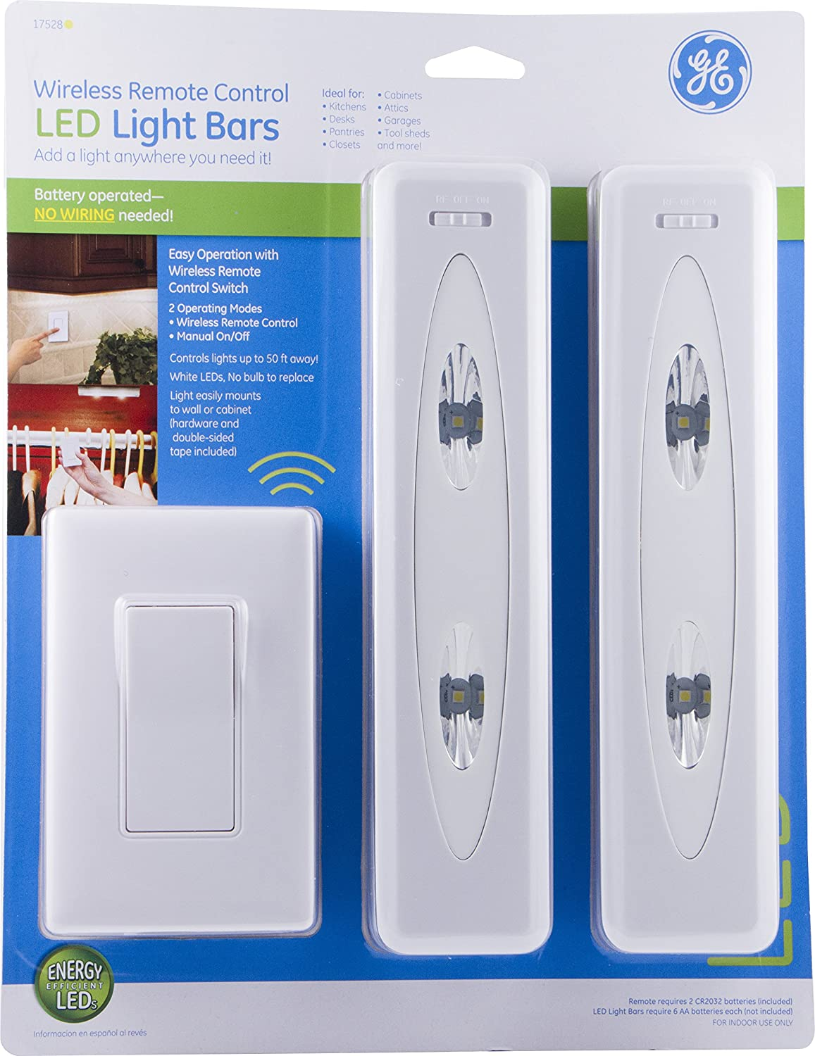 Ge Wireless Remote Control Led Light Bars 2 Pack Bright White Light Battery Operated Under Cabinet Lighting No Wiring Needed Easy To Install