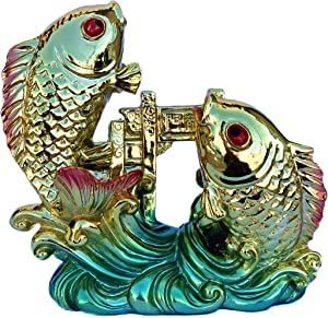 Betterdecor Feng Shui Chinese Carps Lucky Fish Jump Over The Dragon Gate Home Office Decor Statue for Achievement and Success