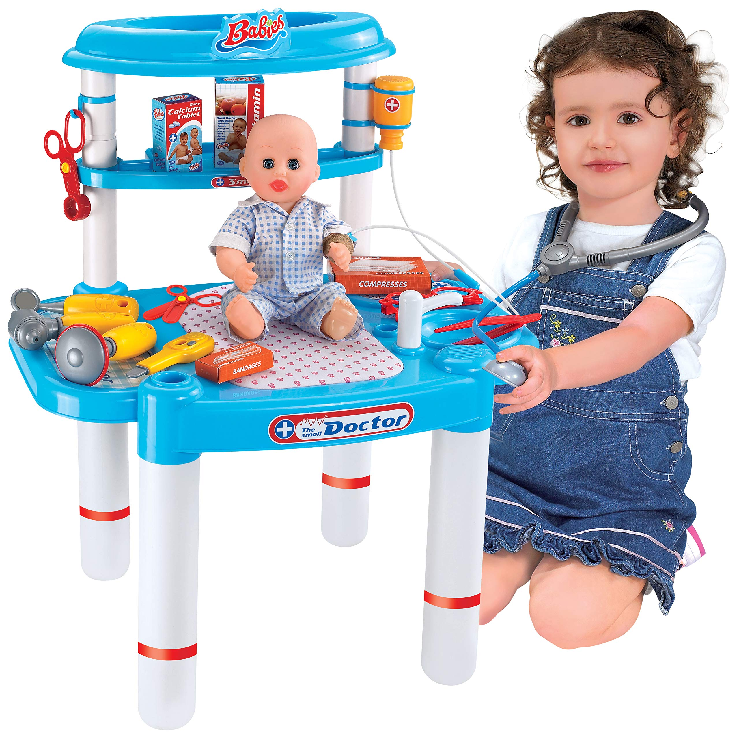 Liberty Imports Little Doctors Deluxe Hospitcal Medical Table Playset - Kids Toy Portable Doctor Set with Pretend Play Doctor Accessories