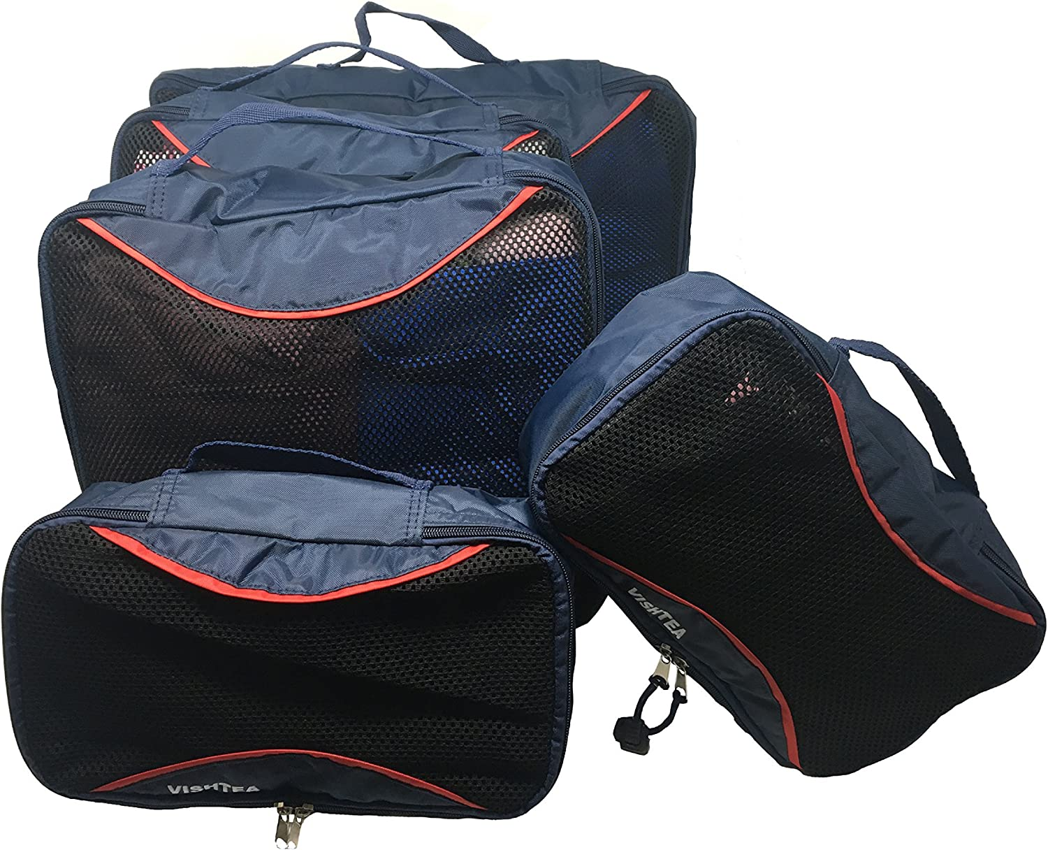 2xS//2xM//1xL Luggage Travel Organizers Packing Cubes 5 Set 5Pack, Navy Blue