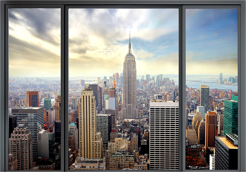 D/éco Mural Tableaux Muraux Photo Ville Gratte-ciel decomonkey Papier peint intiss/é New York Fenetre 350x256 cm Trompe l oeil