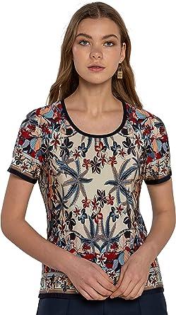 NAULOVER - Camiseta para Mujer de Manga Corta con Estampado Tropical en Tonos Azules y Rojos. (Talla 42): Amazon.es: Ropa y accesorios