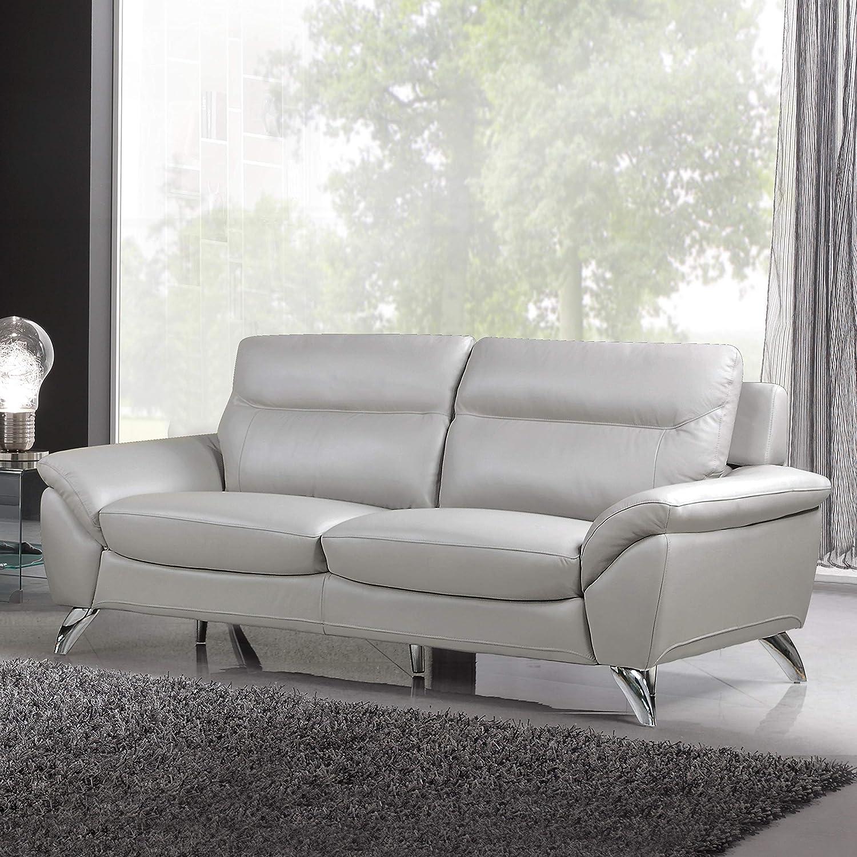 Cortesi Home CH-3MONACO3586F Monaco Contemporary Leather Sofa, Grey