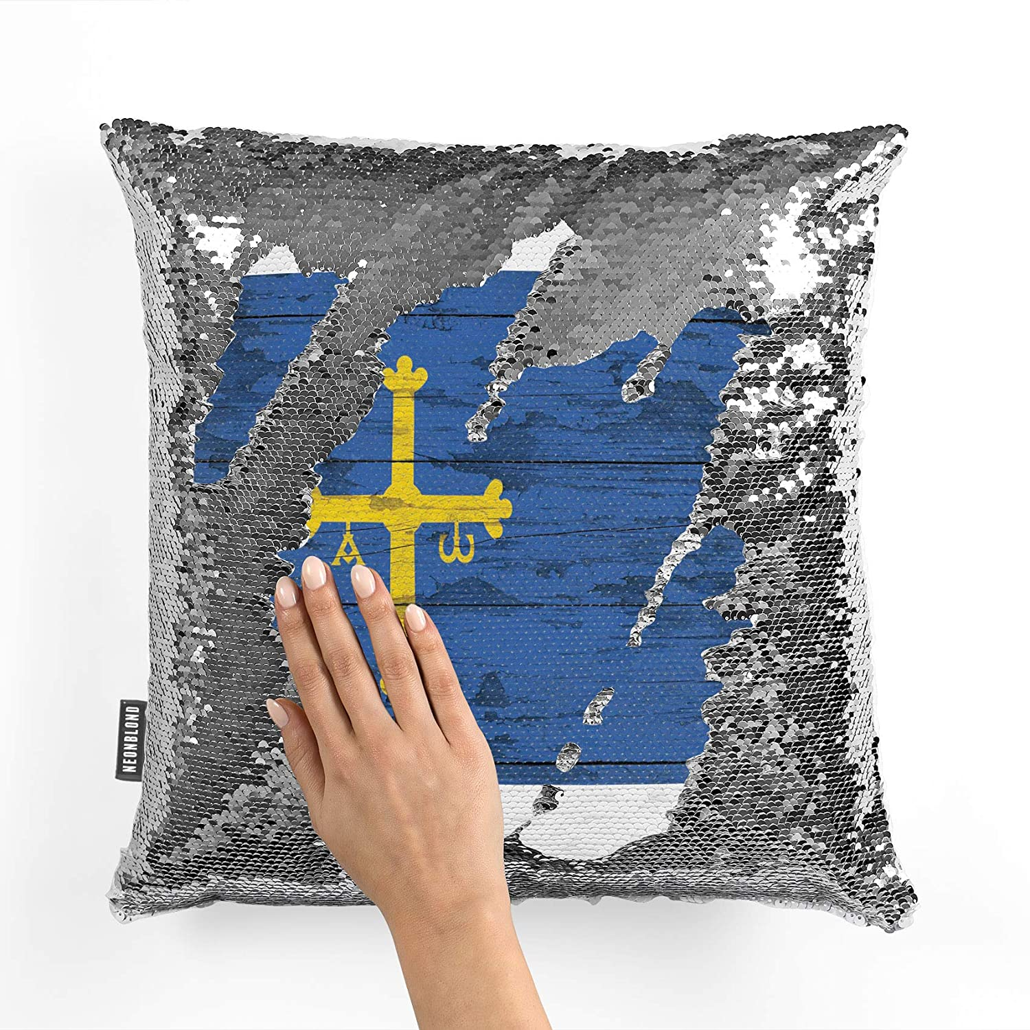 Amazon.com: NEONBLOND Mermaid Pillow Cover Flag on Wood ...