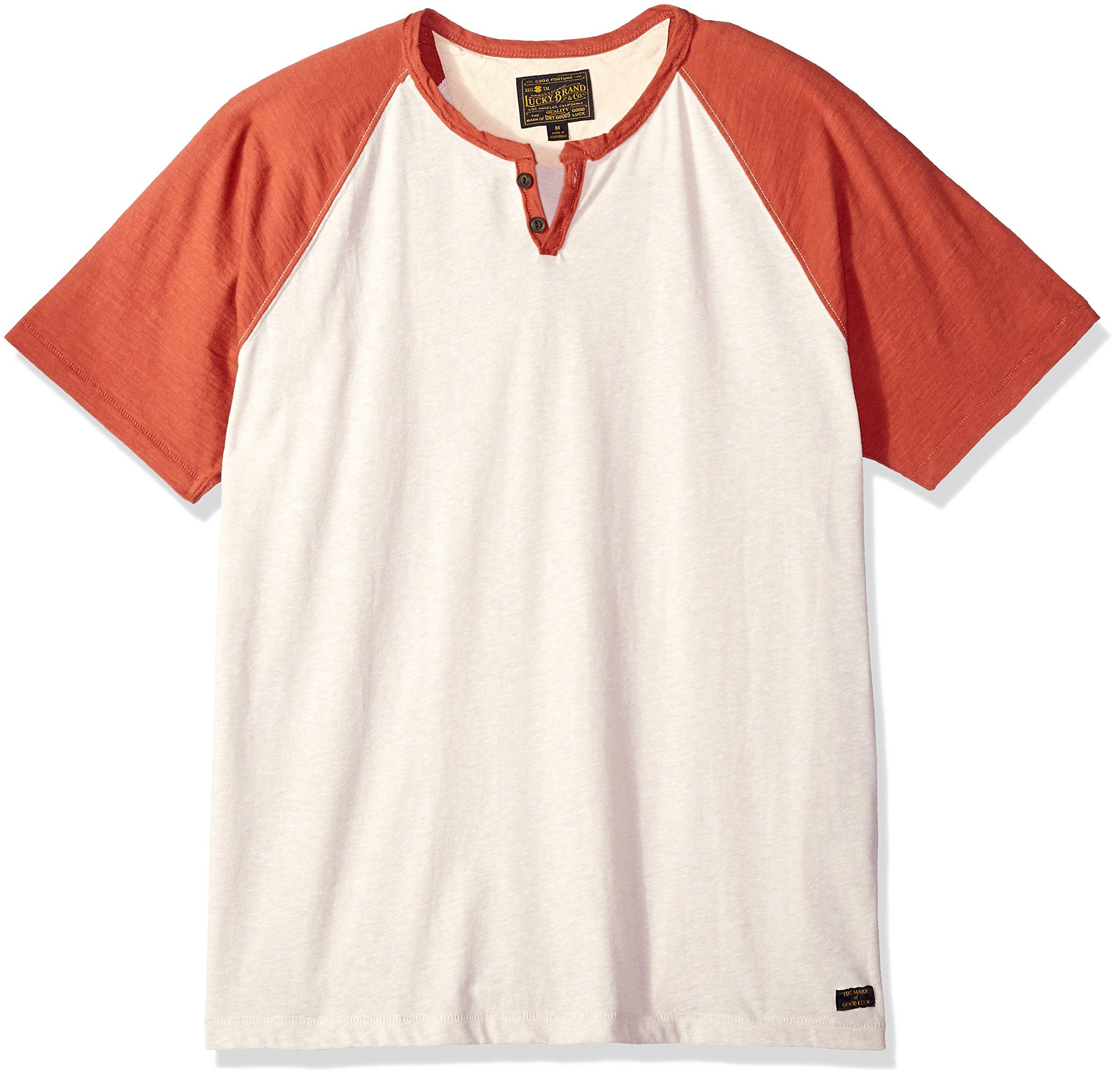 Lucky Brand Men's Colorblock Henley Shirt, Heather Oat Body/Red Sleeve, M