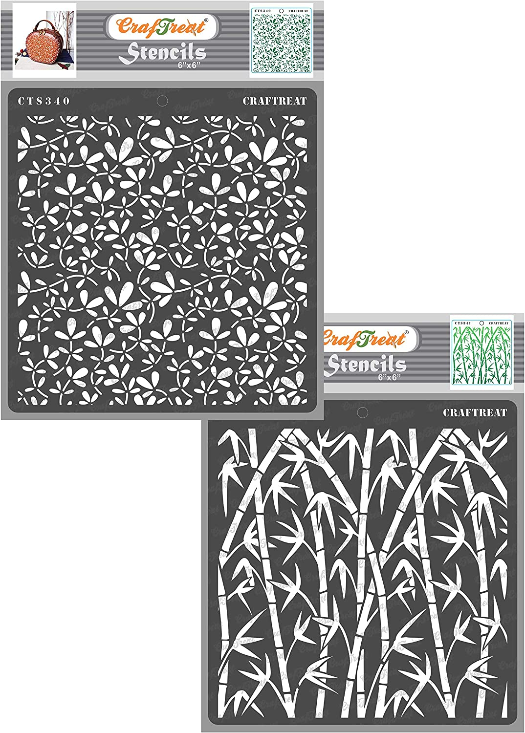 Wall Stencils for Painting Large Pattern Reusable DIY Craft Stencils Fabric 12x12 Inches Paper Bamboo Forest Stencils CrafTreat Bamboo Stencils for Painting on Wood Wall and Tile Canvas