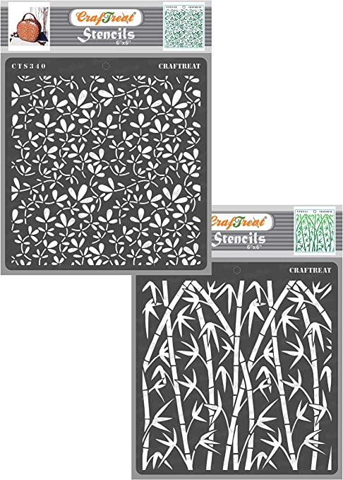 Wood 6X6 Notebook Home Decor Leaves and Branch Wall Tile Floor Scrapbook and Printing on Paper Fabric Reusable Painting Template for Journal DIY Albums Crafting CrafTreat Stencil