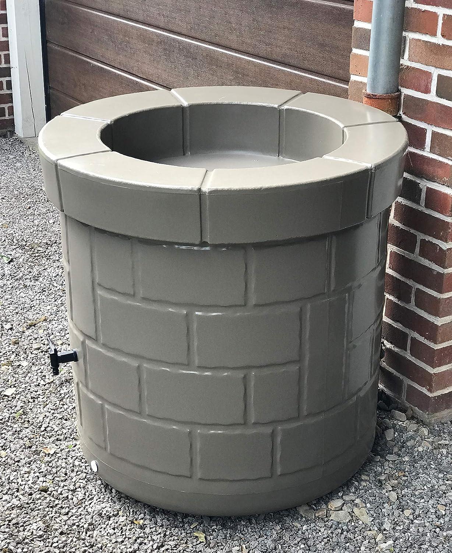 Puit récupérateur d'eau 340L design et coloré, avec robinet. taupe - Fabrication française