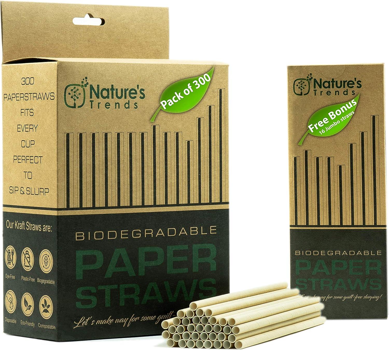 Pajitas de papel biodegradables – 300 pajitas de papel kraft ...