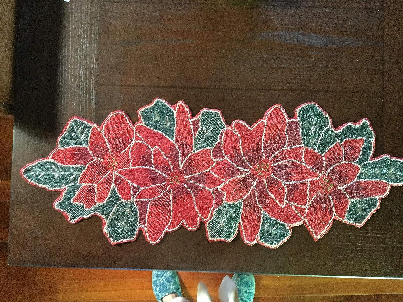 エレガントな赤いポインセチア花Holidayビーズ付きテーブルランナー36