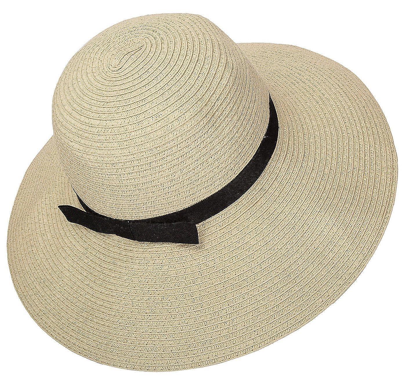 bddc8d3f09ca7 Janrely Women Floppy Sun Beach Straw Hats Wide Brim Packable Summer Cap  (Beige) at Amazon Women s Clothing store