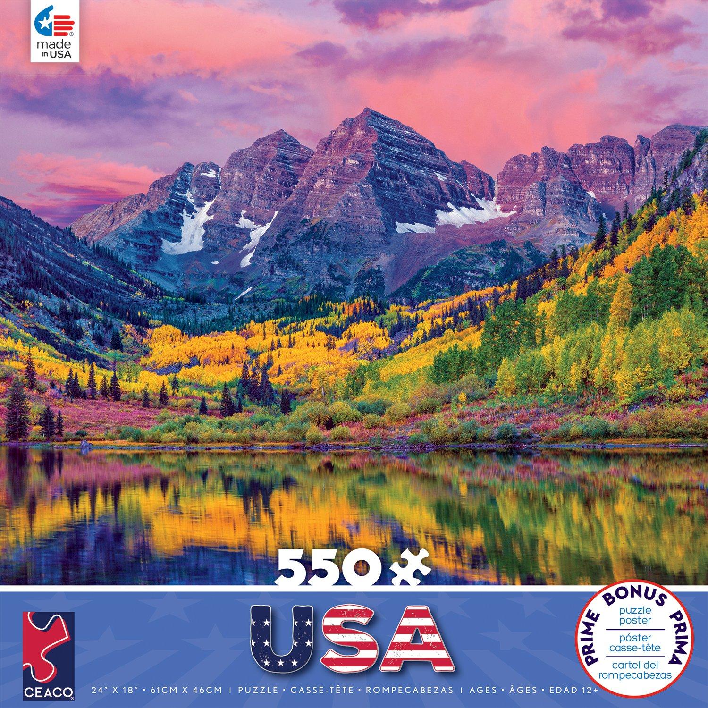 550 Piece 2396-13 Ceaco Around The World Maroon Bells Jigsaw Puzzle