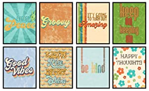 Groovy Retro Inspirational Set of Wall Decor Art Prints 8x10 Size (Set of 8) Good Vibes Be Kind