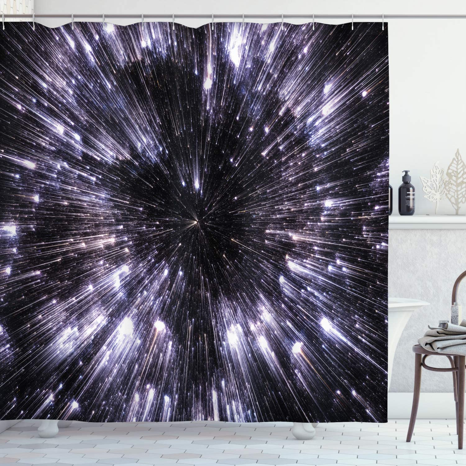 """Ambesonne Galaxy Shower Curtain, Speed of Life Space Travel Galaxy Universe Science Fiction Future, Cloth Fabric Bathroom Decor Set with Hooks, 84"""" Long Extra, Violet Black"""