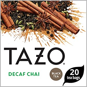 Tazo Black Tea Bags for a cup of relaxing Decaf Chai Caffeine Free 20 Count, Pack of 6