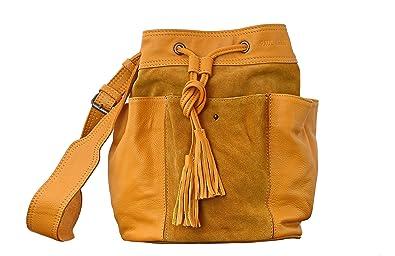 578f1dd7af Paul Marius FLEUR Safran Sac forme bourse en cuir de vachette combinaison  cuir & nubuck bandoulière
