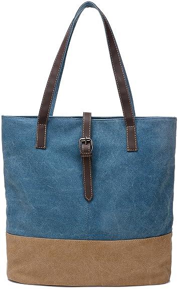 ArcEnCiel Women's Canvas Shoulder Hand Bag Tote Bag (Blue ...