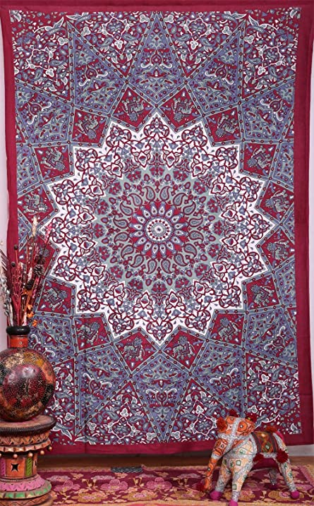 Large Hippie Tapestry, Hippy Mandala Bohemian Tapestries, Indian Dorm Decor,  Psychedelic Tapestry Wall