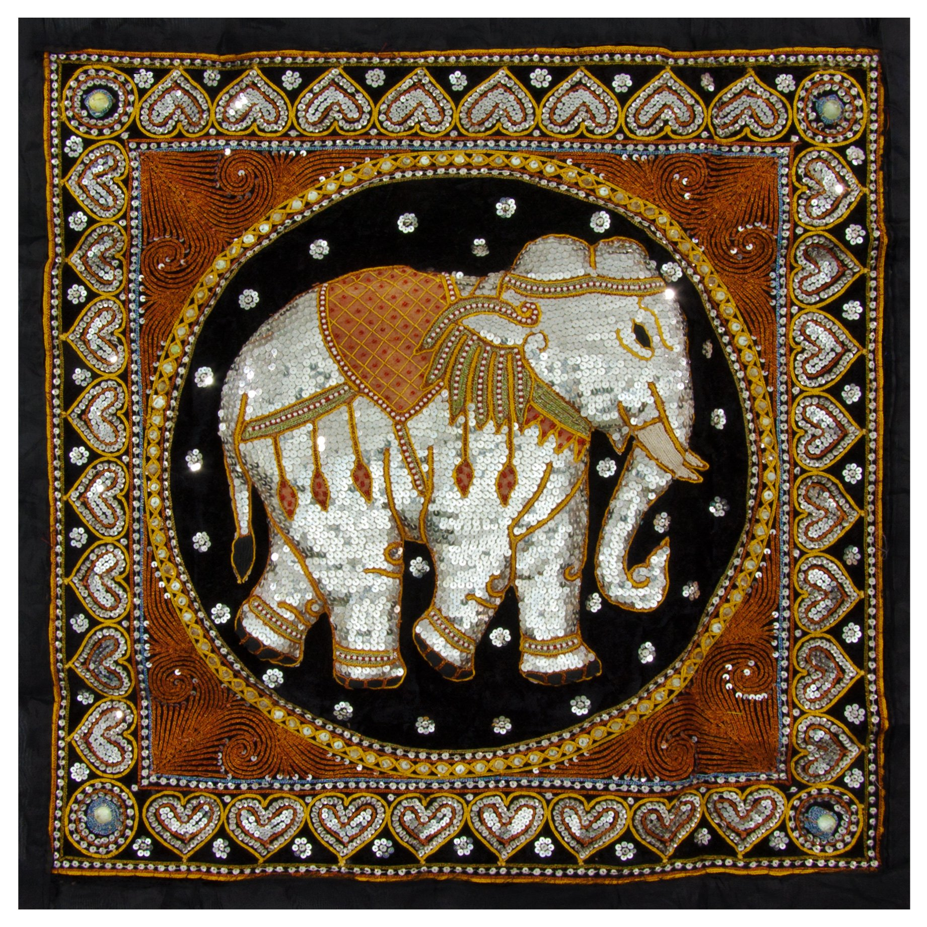 Oriental Furniture Burmese Elephant Tapestry Wall Hanging by ORIENTAL FURNITURE