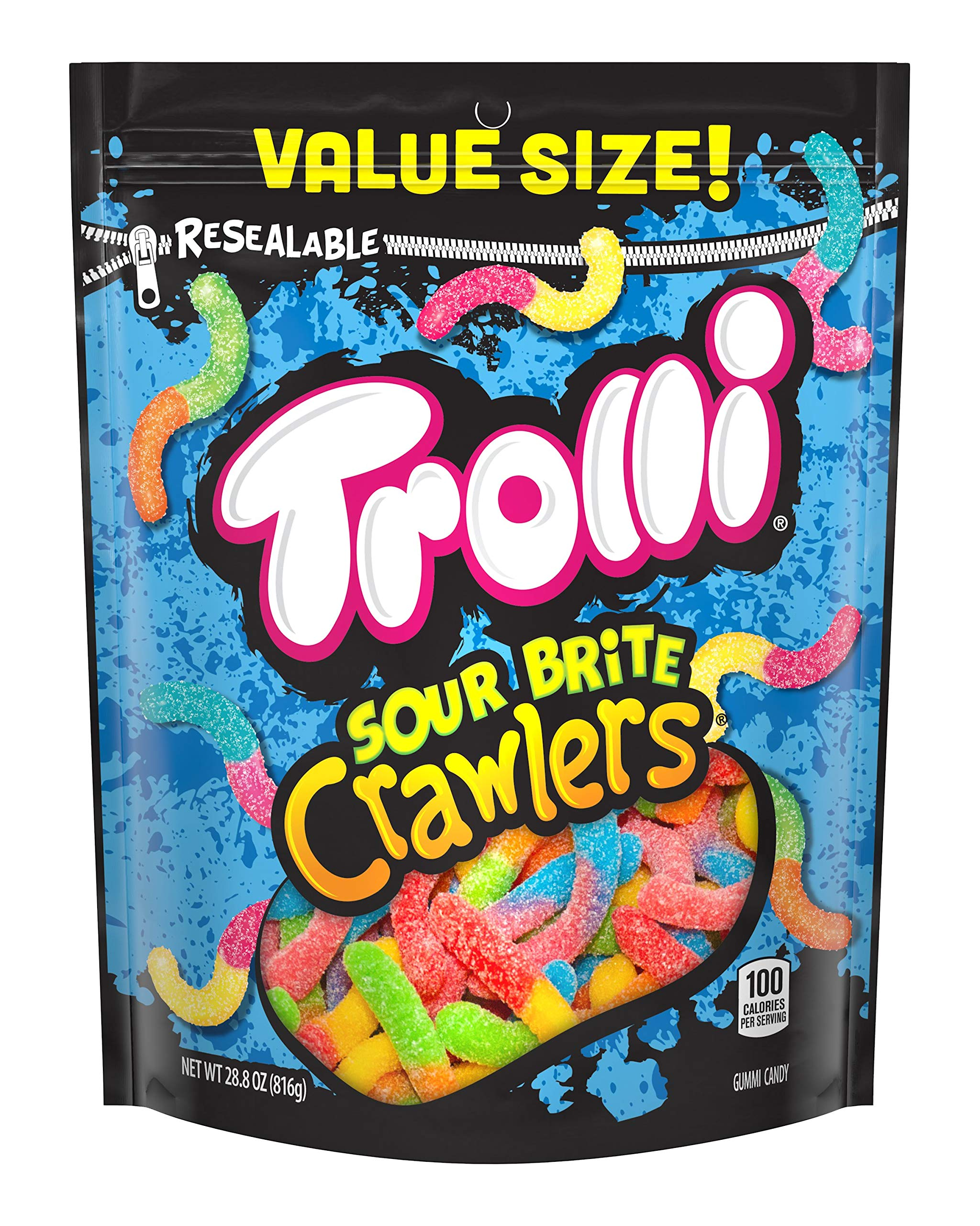 Trolli Sour Brite Crawlers Gummy Worms, 28 Ounce Bag Sour Gummy Worms