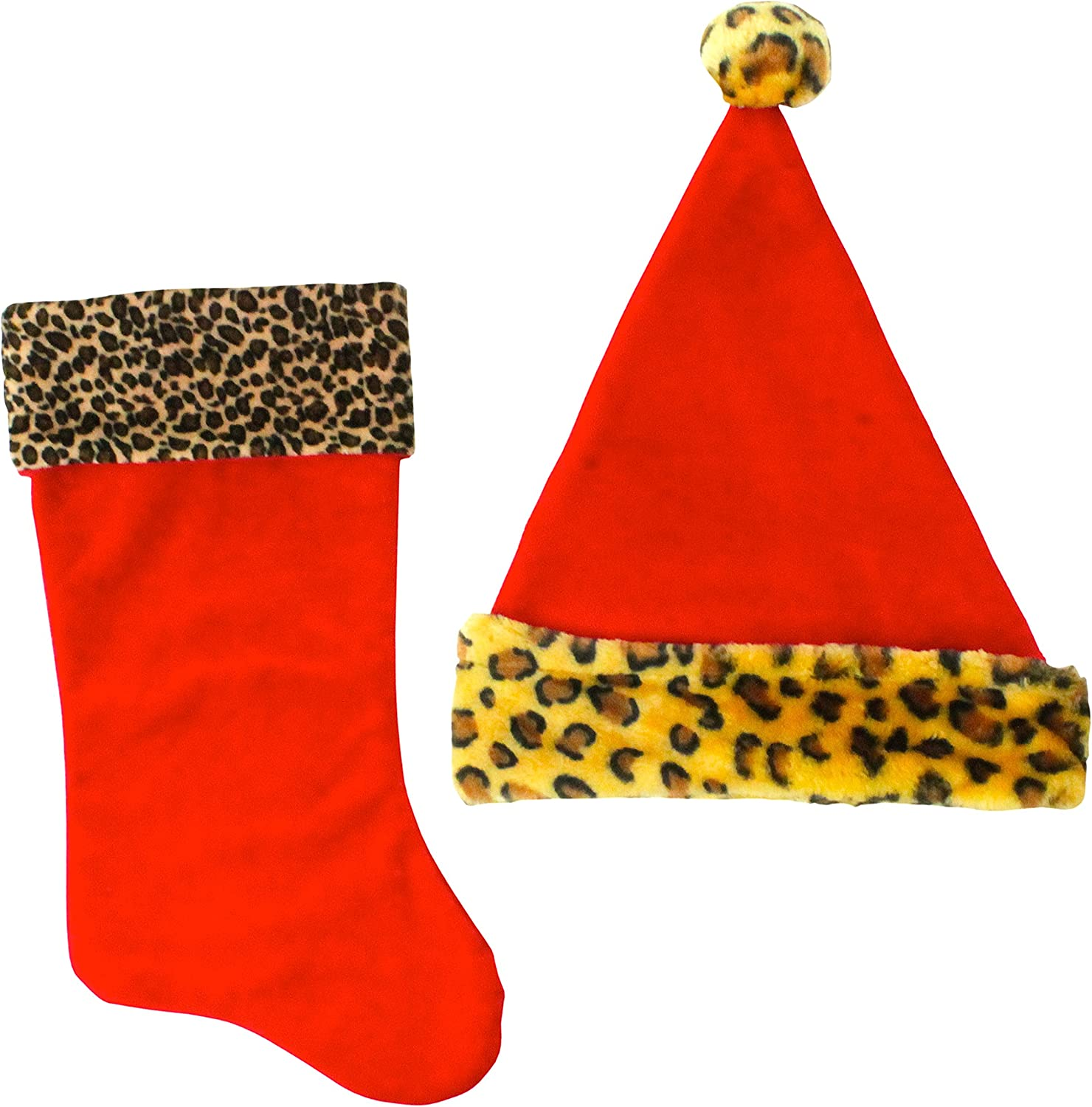 Leopard Good Old Values Plush Stocking /& Santa Hat Set