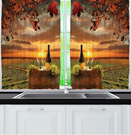 Ambesonne Tuscany Land Of Wine Decor Collection Grape Field Bottle Glasses Sunset View