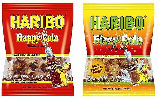 amazon com haribo happy cola fizzy cola sour gummi candy combo