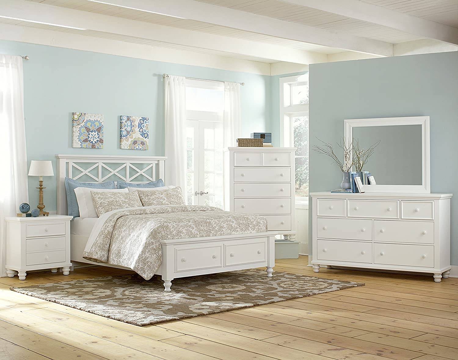 amazon com virginia house mcdowell collection garden storage bed queen white kitchen dining