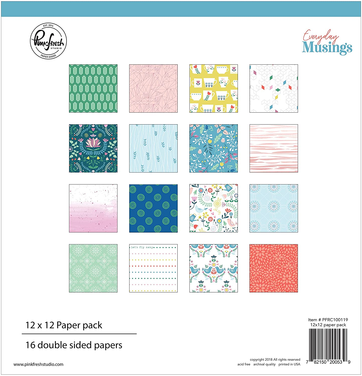 8 Designs//2 Pinkfresh Studio PFEM119 Double-Sided Paper Pack 12X12 16//Pkg-Everyday Musings