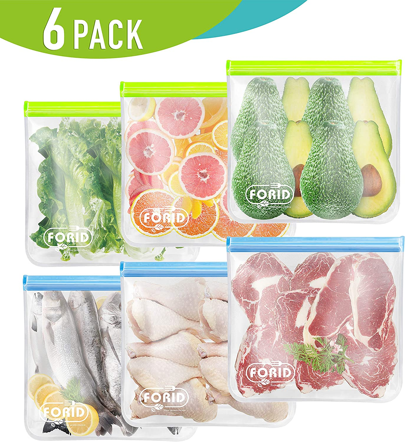 Reusable Gallon Freezer Bags - 6 Pack EXTRA THICK 1 Gallon Ziplock Bags LEAKPROOF Gallon Storage Bags for Marinate Food & Fruit Cereal Sandwich Snack Meal Prep Travel Items Home Organization Storage