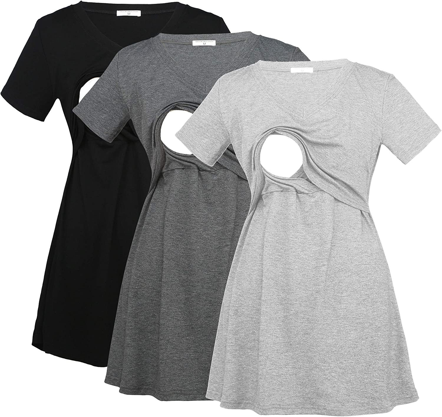 Bearsland Womens 3 Packs V Neck Nursing Tops Maternity Breastfeeding Tee Shirts