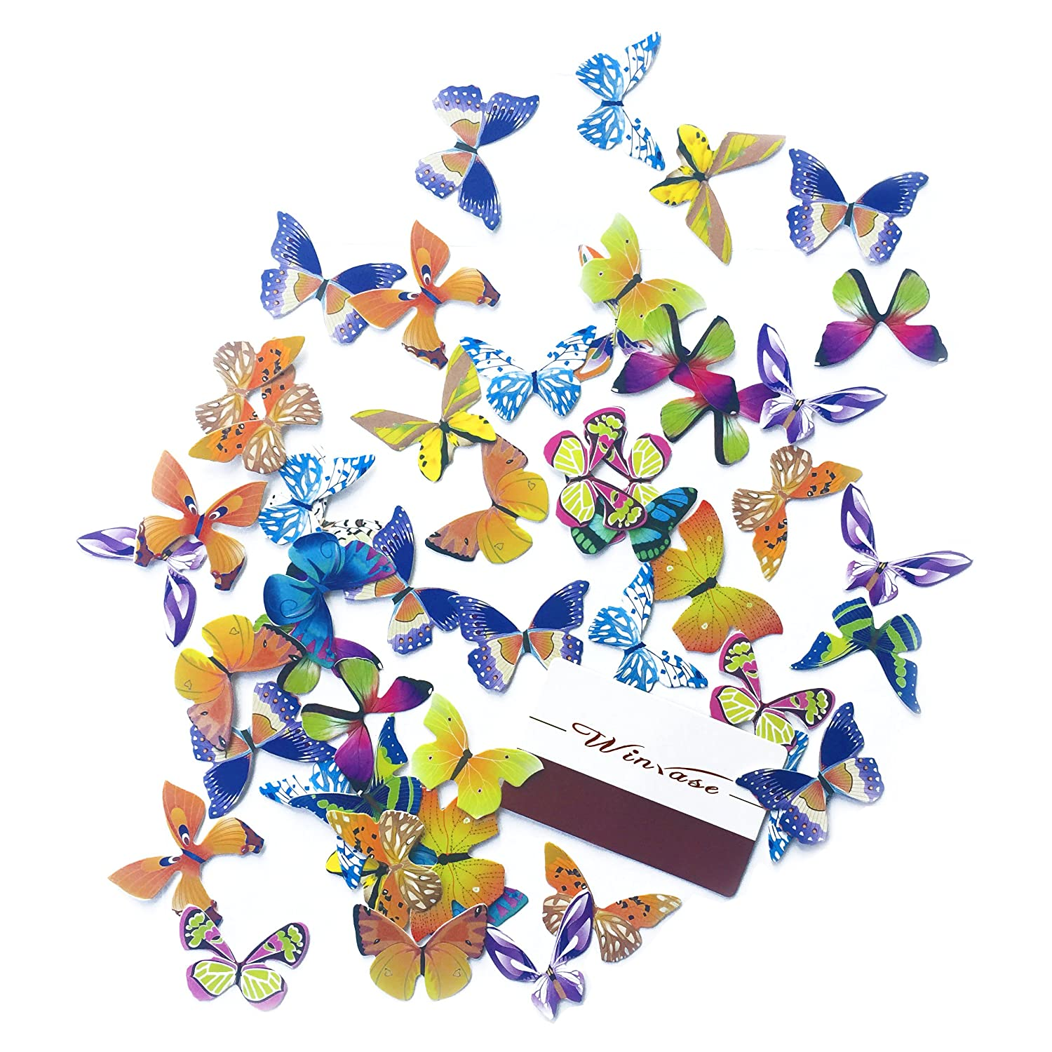 Winrase/® Pack of 50 Colorful Small Butterfly Party Decoration Cake and Cupcake Toppers