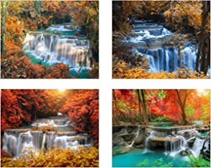 Peaceful and Beautiful Waterfall. Envision Nature in your own spaceshowcasing Vibrant and Tranquil Inspirational Beauty (Set of 4): Modern Art Decor Unframed Photo Prints (8