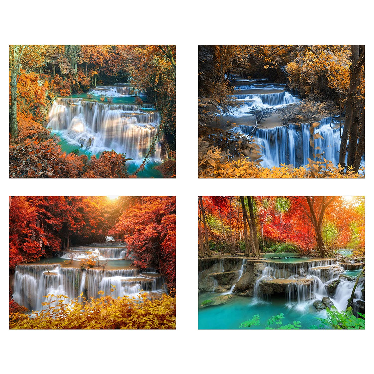 Envision Nature in your own space  showcasing Vibrant and Tranquil Inspirational Beauty 8x10 Set of 4 : Modern Art Decor Unframed Photo Prints Peaceful and Beautiful Waterfall