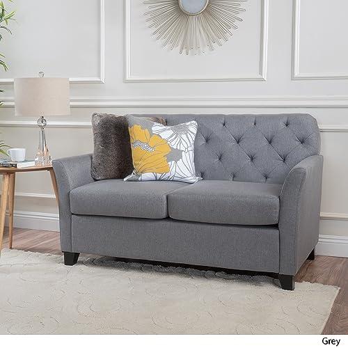 Christopher Knight Home Jennifer Grey Tufted Fabric Loveseat