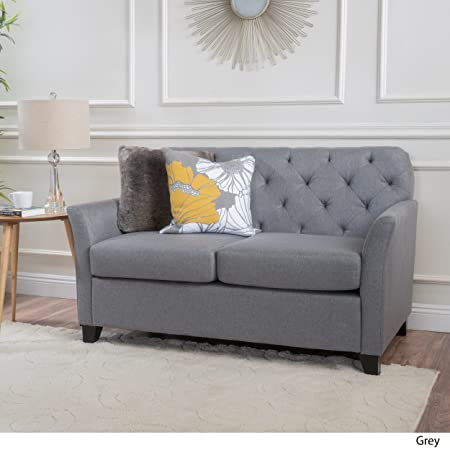 Christopher Knight Home 300067 Jennifer Grey Tufted Fabric Loveseat,