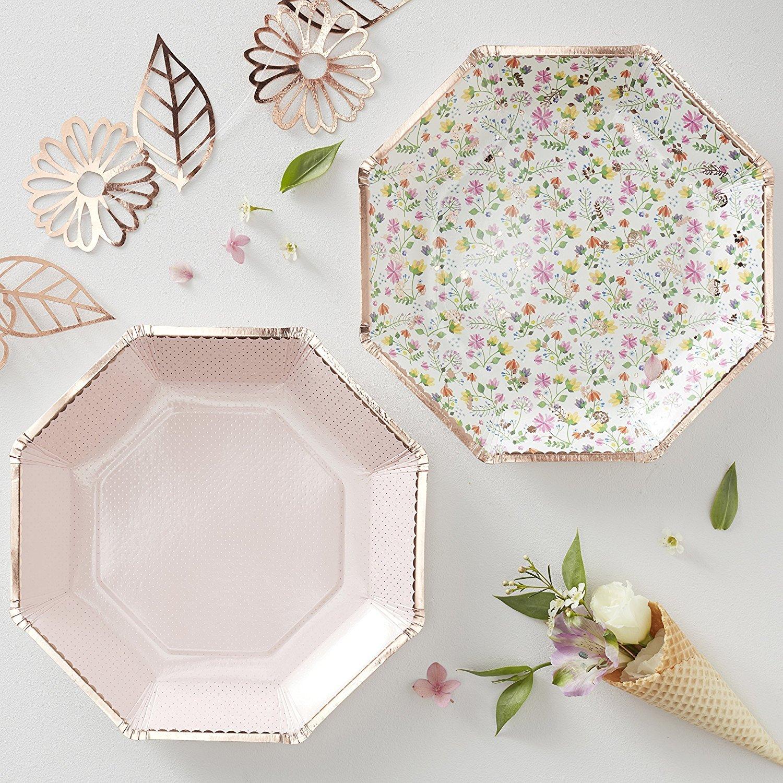 Geburtstags-Feier//Picknick // Sommer-Party//Garten-Party//Grill-Fest 16 St/ück 2 Designs Party-Teller//Papp-Teller//Einweg-Teller//Einweg-Geschirr Fr/ühlings-Blumen rosa /& ros/é-Gold//Kupfer