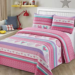 3pc Full Queen Size Quilt Bedspread Kids/Teens Hearts Pink Purple/Lavander White Girls Multicolor Bedding New