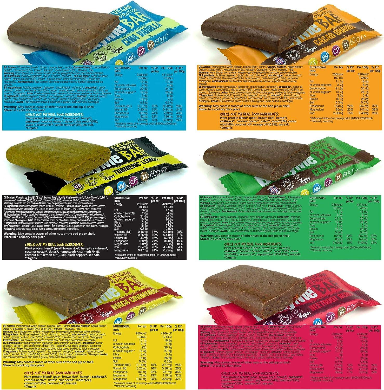 BodyMe Barritas Proteinas Veganas Organica | Paquete Prueba Mixto | 6 x 60g Barra Proteina Vegana | Sin Gluten | 16g Proteína Completa | 3 Proteina ...