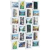 Relaxdays Cornice da 24 fotografie da parete per creare un collage di foto, HxLxP: 59 x 86 x 2,5 cm, in bianco