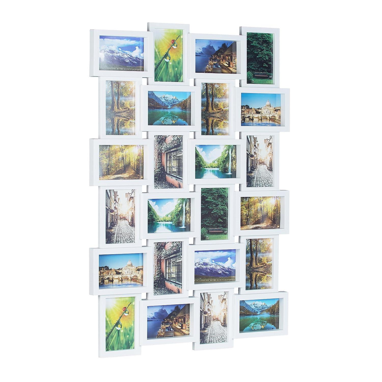 Relaxdays 10021954 Cadre photos pêle-mêle 24 photos Galerie mur cadre mural HxlxP: 59 x 86 x 2,5 cm, blanc 10021954_49